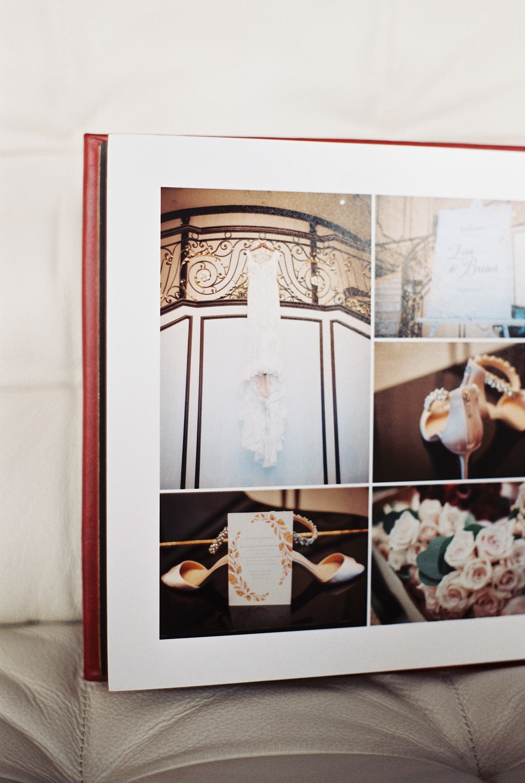 top wedding photo album by Leather Craftsmen example spread of bride