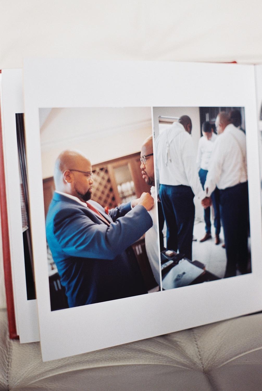 top wedding photo album by Leather Craftsmen with groomsmen