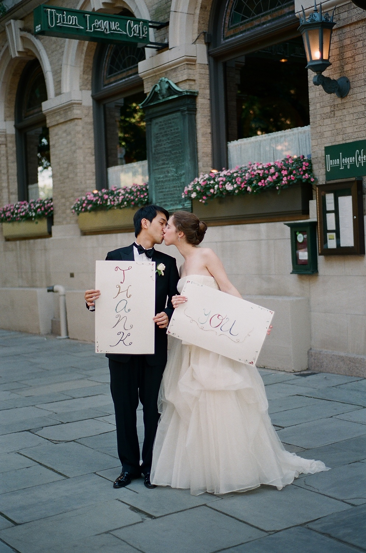 yale wedding couple kissing outside union league cafe wendy g