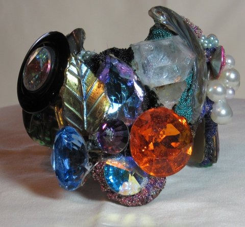 Wristy with Large Orange Jewel by fashion jewelry designer Wendy Gell