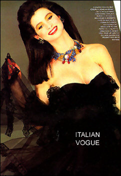 Elaborate collar necklace worn by model in Italian Vogue magazine