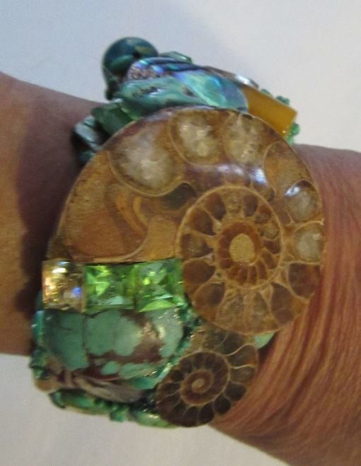 Ammonite Wristy Cuff Bracelet, A jewel encrusted, unique and one of a kind piece of jewelry by Wendy Gell, fashion jewelry designer extraordinaire