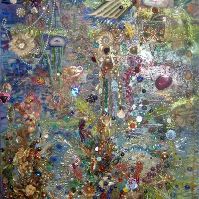 Buddha by the Lake, jewel encrusted mosaic, Gelastic Art by Wendy Gell