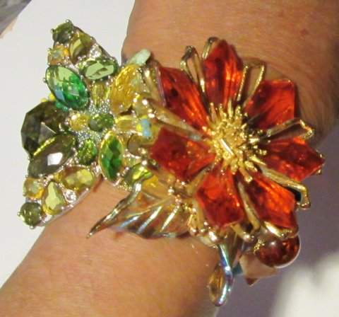 Butterfly and Orange Flower Wristy by Wendy Gell