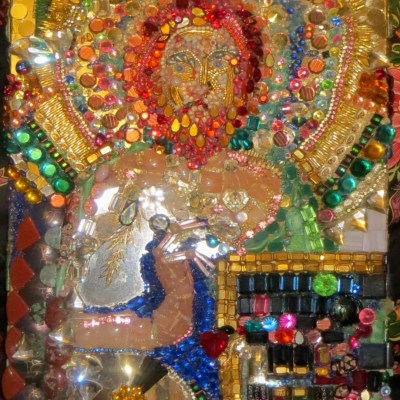 Byzantine Prophet, jewel encrusted mosaic,Gelastic Art by Wendy Gell