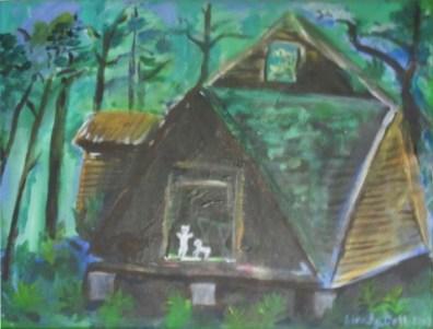 House in the Woods, original oil painting, Gelastic Art by Wendy Gell