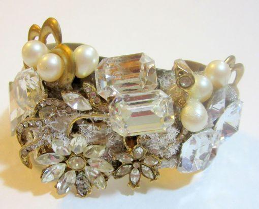 Ice Flowers bridal wristy cuff bracelet by renowned Fashion Jewelry Designer Wendy Gell