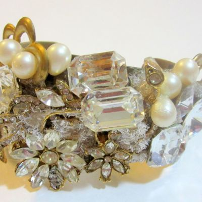 Ice Flowers bridal wristy cuff bracelet by renowned Fashion Jewelry Designer Wendy Gell