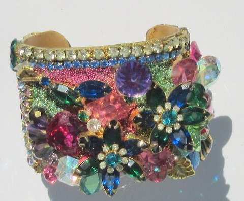 Jeweled Flower Garden Wristy Cuff Bracelet, Fashion Jewelry Design by Wendy Gell, alternate view