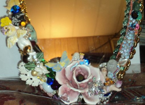 "3' 4"" tall oval Magical Jeweled Mirror, insanely encrusted with cherubs, angels, jewels, pearls, and more by fashion jewelry designer Wendy Gell. Detail shot #1"
