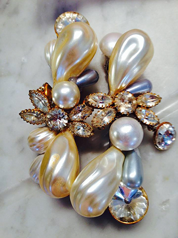Pair of Pearl and Crystal Barrettes, Fashion Jewelry Design by Wendy Gell