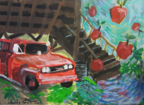 Old Firetruck in the Apple Orchard, original oil painting, Gelastic Art by Wendy Gell