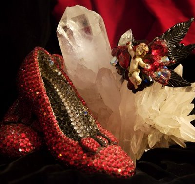 Jeweled Ruby Slippers, collectible art inspired by the Wizard of OZ by Wendy Gell