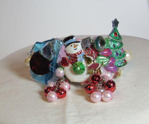 Snowman with Christmass TREet Wristy Cuff Bracelet by fashion jewelry designer Wendy Gell