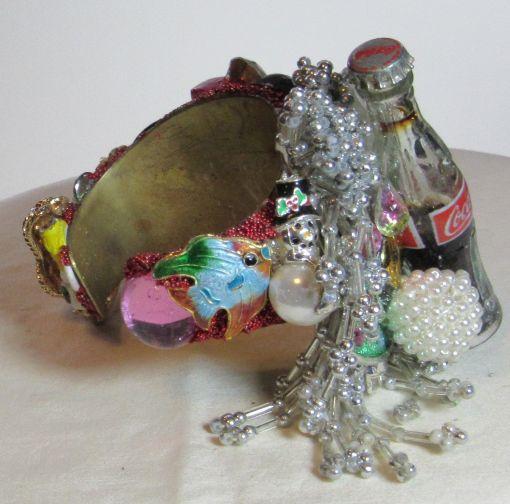 Happy Snowmen with Coke wristy pop art cuff bracelet by fashion jewelry designer Wendy Gell, detail 2
