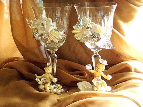 White Wedding Goblets, custom WEdding Accessories by Fashion Jewelry Artist Wendy Gell