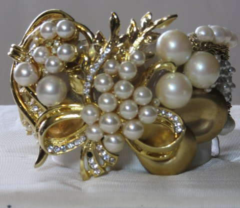 """1 1/2"""" wide Golden Bride Cuff Bracelet with pearls of different sizes and gold swirls, so very Victorian with a modern twist, by jewelry designer Wendy Gell"""