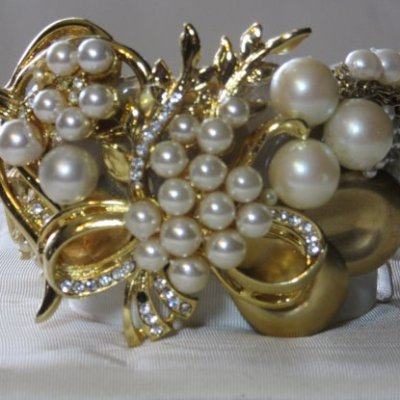 "1 1/2"" wide Golden Bride Cuff Bracelet with pearls of different sizes and gold swirls, so very Victorian with a modern twist, by jewelry designer Wendy Gell"