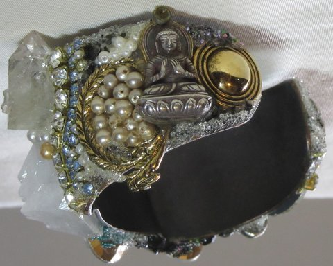 Single Pearl Bridal Cuff Bracelet with Buddha by Wendy Gell, side detail