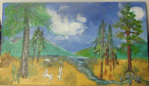 Bunnies in the Forest, oil on wood by Wendy Gell