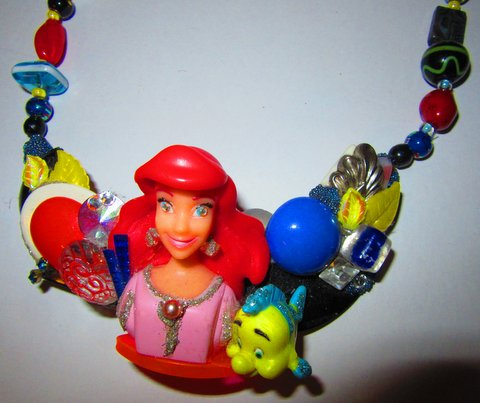 Detail of Ariel the Little Mermaid Necklace, Disney character necklace designed by Wendy Gell