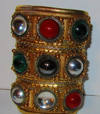 Byzantine Wristy Cuff Bracelet, made for an Oscar de la Renta runway show by celebrated jewelry designer Wendy Gell