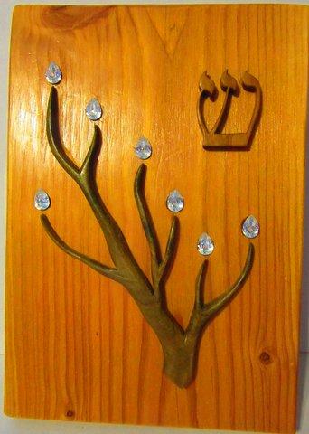 crystal tipped branch mezuzah by Larry Koskela