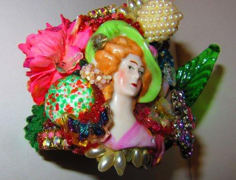 Porcelain Lady in Hat Wristy, by jewelry designer Wendy Gell