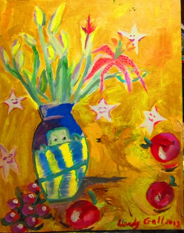"""Smiling Stars, 18"""" x 24"""" oil on canvas by Wendy Gell"""