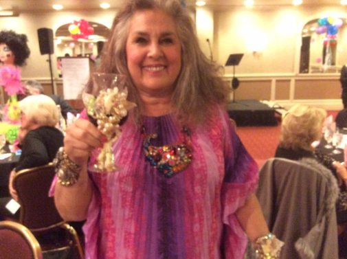 Wendy shows an adorned wedding goblet at the CJCI 2015 Convention, Rhode Island