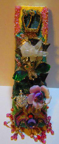 Jeweled Owl Mezuzah : Ornately jewel encrusted Owl mezuzah by fashion jewelry designer by Wendy Gell. $200
