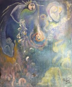 Creativity and Duality, painting by Wendy Gell,1974.
