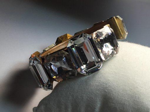 Large Swarovski Crystal wristy cuff bracelet by Wendy Gell - side detail