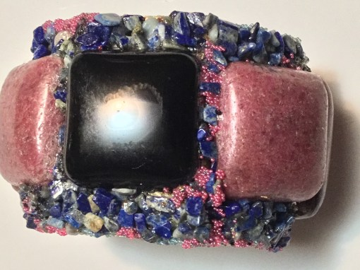 Pink and black wristy cuff bracelet with denim lapis by Wendy Gell