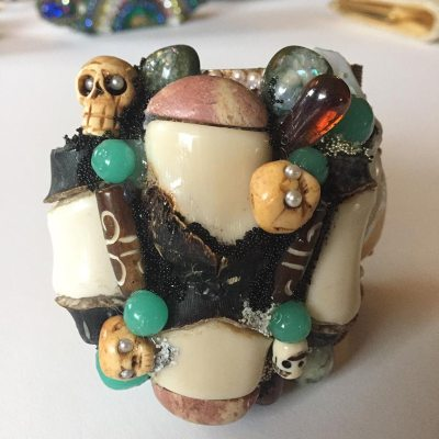 Bejeweled Skulls and Bones Wristy by Wendy Gell