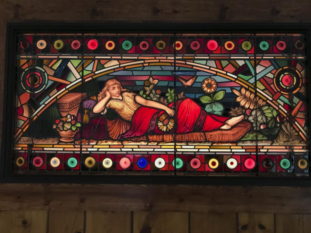 picture of stained glass window in Wendy Gell's childhood home