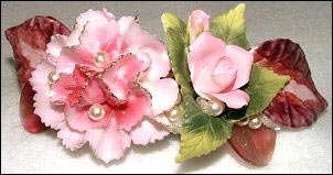 pink floral barrette by Wendy Gell