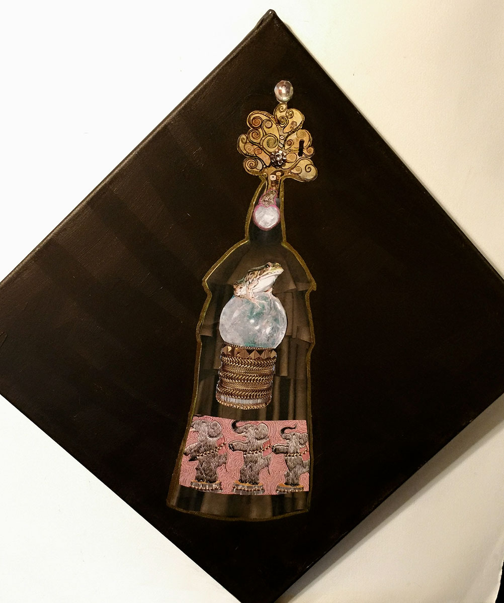 Ironic Iconic Paper Doll Collage Series: at the bottom is an Elsa Schiaparelli embroidery of fantastic elephants dancing, with a Wendy Gell bracelet above. At the top is a tree from a Gustav Klimt painting.