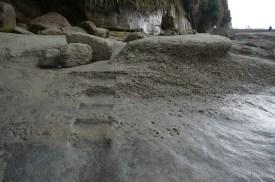 Slight trail cut into the rocks