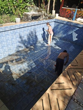 Pool looks amazing most of the time, but no chemicals means cleanout every 2 weeks