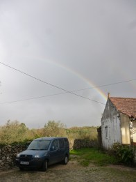Saw a lot of rainbows over the road on the way - this one is in Portugal, but it rained most of our journey
