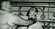 """Lugosi (Dr. Eric Vornoff) and Tor Johnson (Lobo) in """"Bride of the Monster"""" (1955)"""