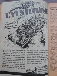 Evinrude Motors ad with an appropriate war-themed illustration.