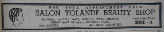 Another beauty salon ad. Nice to know the ladies all wanted to stay looking nice.