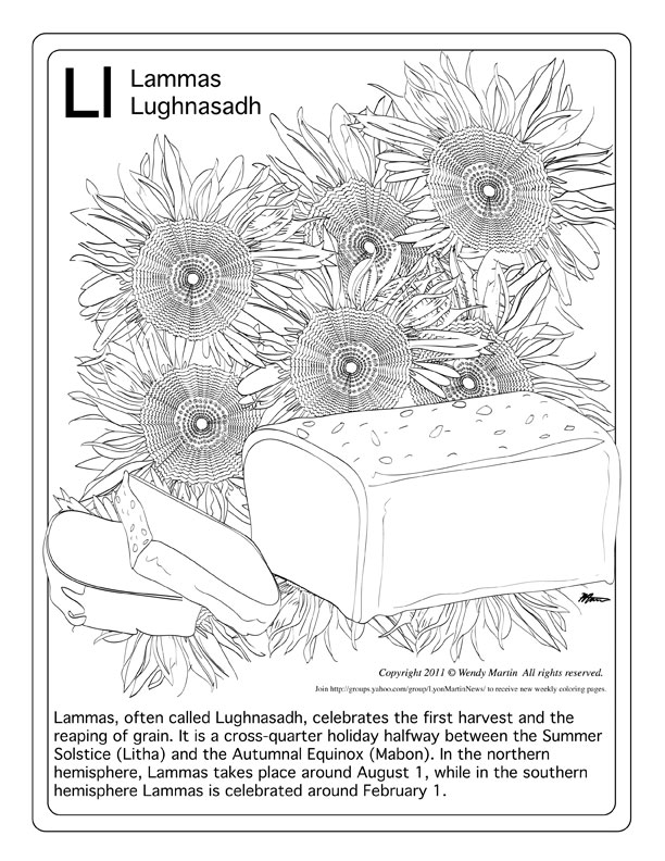 Sunflowers and Bread coloring page