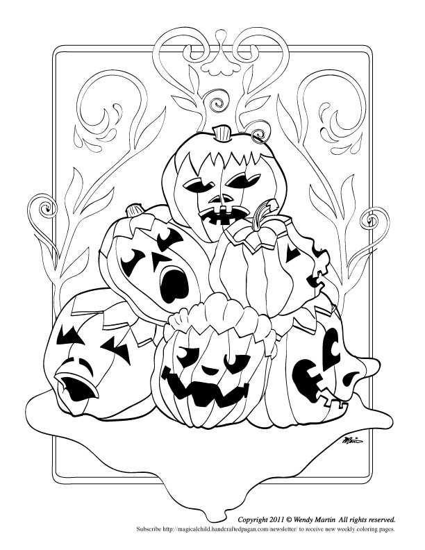 A Pile of Pumpkins to Color