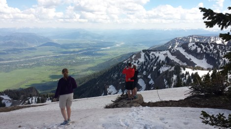 Me and my kids, with a view of Jackson Hole from the top