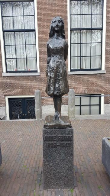 Anne Frank memorial statue Amsterdam