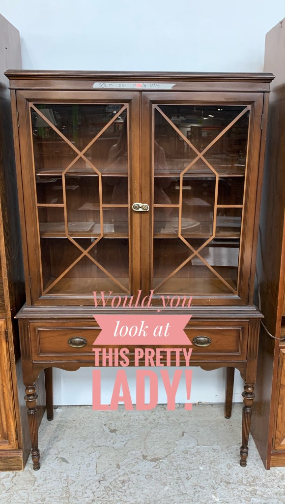 Before photo of old vintage hutch