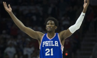 PHILADELPHIA, PA - OCTOBER 26: Joel Embiid #21 of the Philadelphia 76ers reacts in the first quarter against the Oklahoma City Thunder at Wells Fargo Center on October 26, 2016 in Philadelphia, Pennsylvania. NOTE TO USER: User expressly acknowledges and agrees that, by downloading and or using this photograph, User is consenting to the terms and conditions of the Getty Images License Agreement. (Photo by Mitchell Leff/Getty Images)
